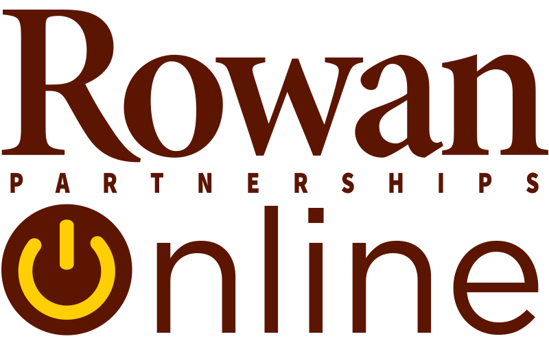 Rowan Online logo in which the O of Online is a power button